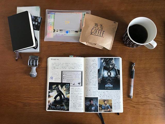 elmo_coffee新しく買ったコーヒー豆と、ブラックパンサー観た日のページ。 見開きですが、後半キルモンガー(悪役)かっこいい🤤しか書いてません…。 あと、女性がとにかくみんなカッコいい! 来週末は京都に行くので、またコーヒー豆買ってしまいそうです。 #ロイヒトトゥルム #ロイヒトトゥルム同好会 #モレスキン #うちカフェノート部 #コーヒー豆 #todaysspecial #eviancoffeeshop2018/03/11 13:43:10