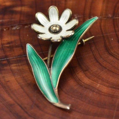 Vintage Sterling Silver Arne Nordlie Norway Enamel Flower Brooch