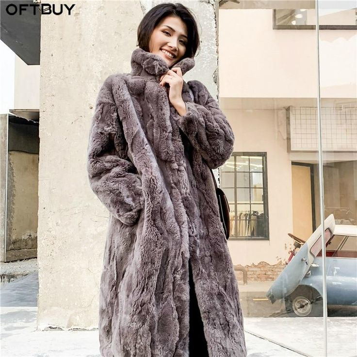 OFTBUY 2019 Real Fur Coat Winter Jacket Women Natural Rex Rabbit Fur Long Overcoat Stand Collar Streetwear Thick Warm Outerwear – pink L