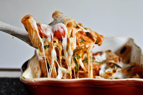 Creamy baked caprese pasta recipe by cupcakepedia, pasta, cheesy pasta, baked pasta,