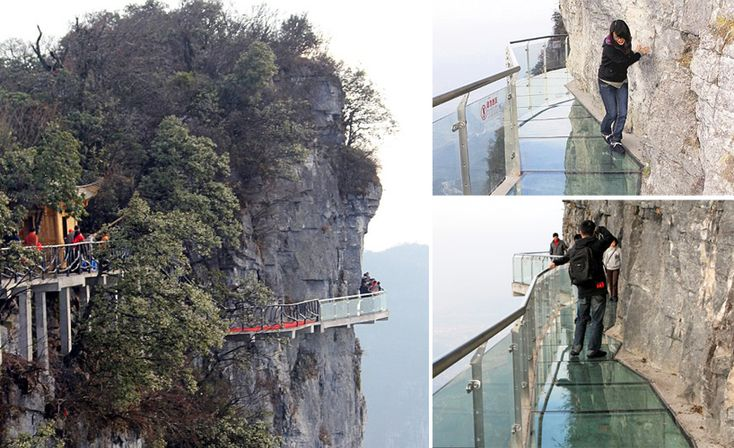 glass walkway at china's tianmen mountain park
