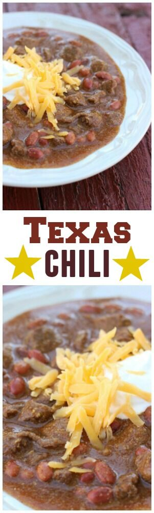 This Texas Chili is a hearty beef chili that will warm you up (and fill you up) on cold days. The large chunks of beef are melt-in-your-mouth tender! via @favfamilyrecipz