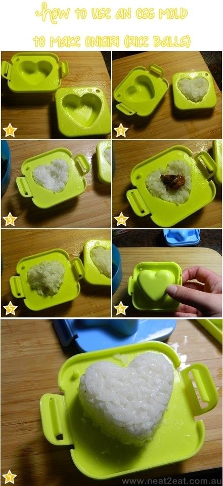 How to make onigiri using egg molds