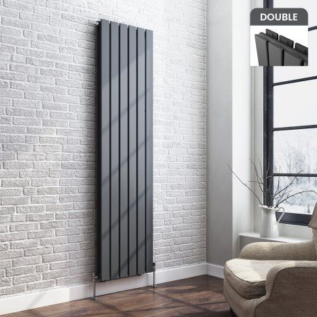 1800x458mm Anthracite Double Flat Panel Vertical Radiator