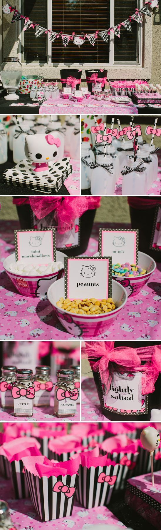 Popcorn Bar - so fun! Hello Kitty Themed Birthday Party