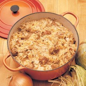 """Kapuzta Recipe -This is a truly authentic """"Old World recipe""""—friends of our family who moved here from Poland gave it to my mother years ago. It's been a favorite Sunday dinner with all of us ever since then. I've found that it's always a hit at potluck dinners, too. After my husband and I moved to our dairy farm, I discovered that this hearty, one-dish dinner was a perfect one for our busy schedule...and that any leftovers taste even better the second day!"""