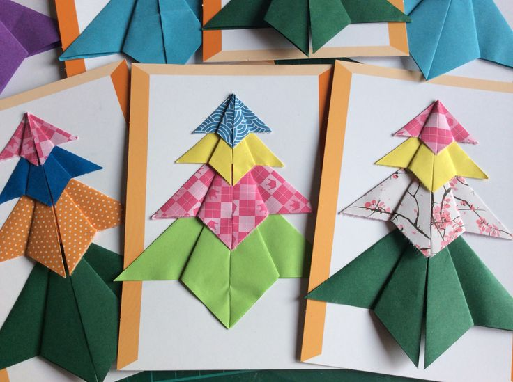 Origami Christmas trees made by myself