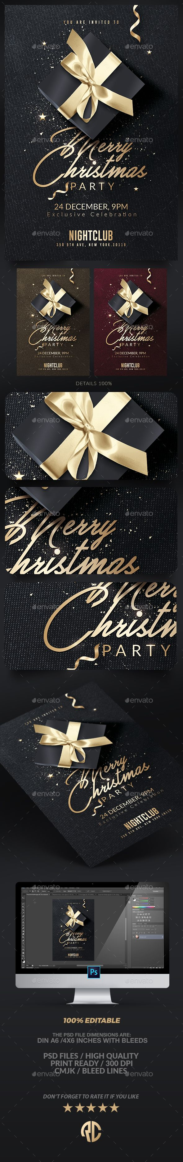 Classy Christmas Invitation | Psd Flyer - Events #Flyers Download here: https://graphicriver.net/item/classy-christmas-invitation-psd-flyer/18710775?ref=alena994