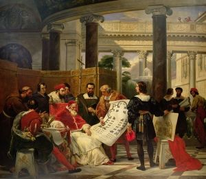 "Horace Vernet: ""Pope Julius II Ordering Michelangelo, Bramante, and Raphael to Construct the Vatican"", 1827, oil on canvas, Current Location: Musée du Louvre  (France - Paris)   The Athenaeum"