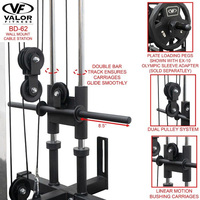 Bd 62 Wall Mount Cable Station Cable Crossover Machine Wall Mount Wall