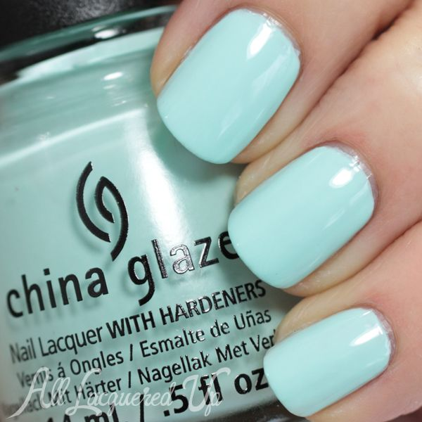 China Glaze At Vase Value ($7.50, ULTA.com) is pale and creamy with hints of Tiffany blue. It has a china-esque feel. (3 coats)