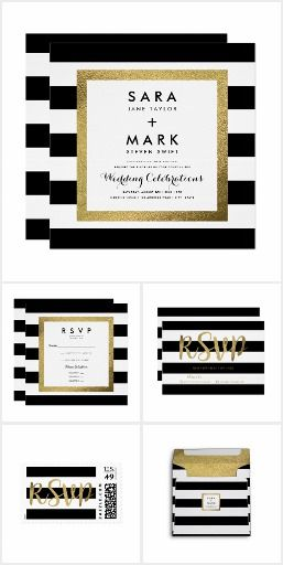 Black & White Stripe with Gold Foil Wedding Modern black & white stripe wedding collection including matching invitations, RSVP reply / response cards, envelopes, belly bands & postage stamps.