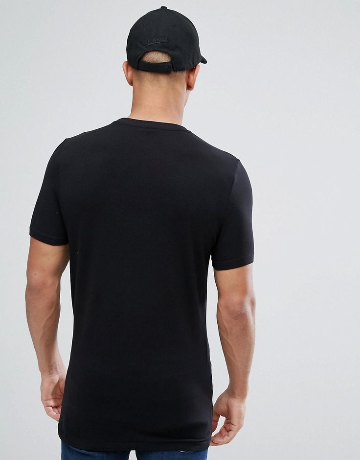 ASOS Longline Muscle T-Shirt With Eagle Print - Black