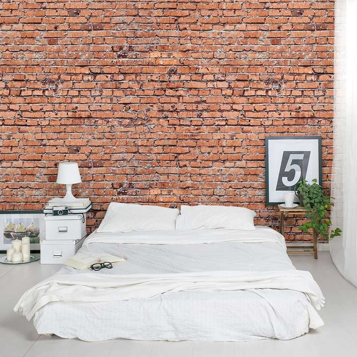 If you love the look of exposed bricks this old red brick for Exposed brick wall mural