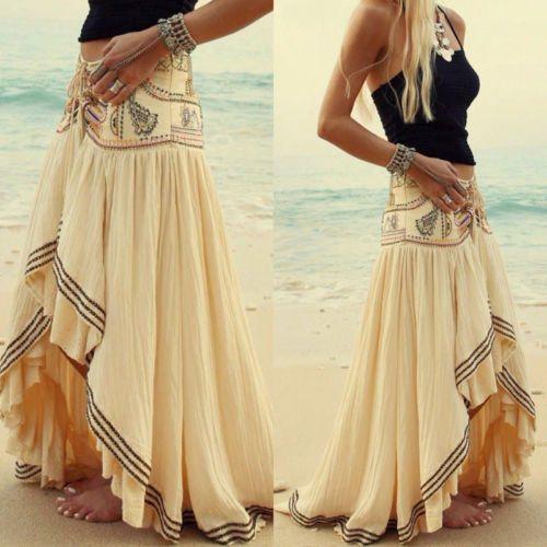 Bohemian Skirt Short Front Back Long Boho Skirt E164