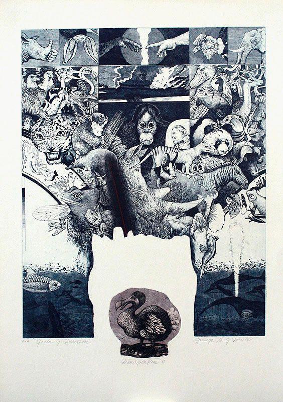POCTA G. DURRELLOVI, 66x45 cm, lept / HOMMAGE A G. DURRELL, etching