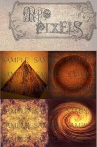 Fascination with rust colors and effects, this image compilation has a pyramid, a concrete circle, wild glowing swirl, and an unusual and interesting mixed textures canvas background. #pyramid #Textures #Rust #Dark #Dreary #CollageElements