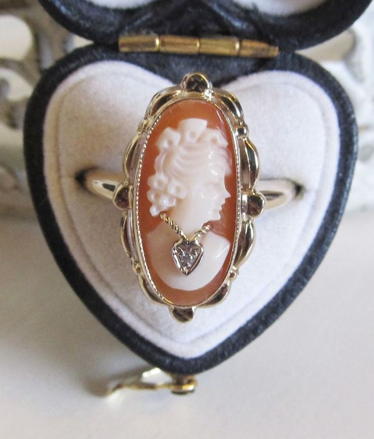 Antique 10k Yellow Gold Cameo Lady Wearing Diamond Necklace Ring Carved Vintage #Handmade #SolitairewithAccents