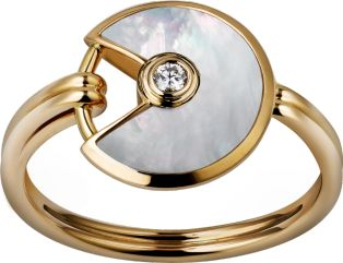 Amulette de Cartier ring, XS model Yellow gold, white mother-of-pearl, diamond
