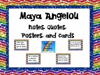 Maya Angelou: Notes, Quotes, Posters, and Cards by Rainbow City Learning #BlackHistoryMonthWithTpT