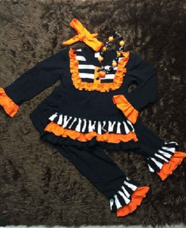 Girls Fall Outfit with Matching Headband and Chunky Bead Necklace, Infant Halloween Outfit, Toddler Halloween Outfit, Girls Halloween Outfit
