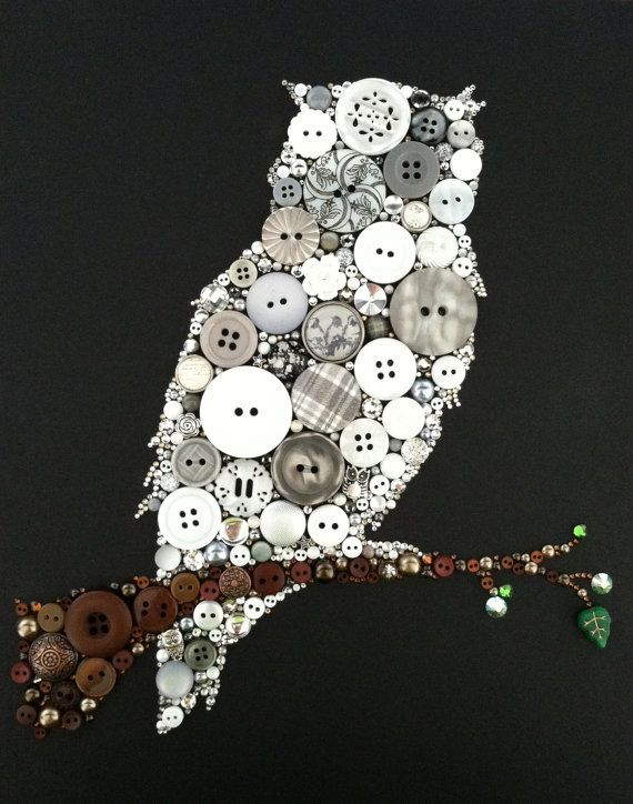 Owl Art Button & Swarovski Art Button Owl by BellePapiers on Etsy, $84.00