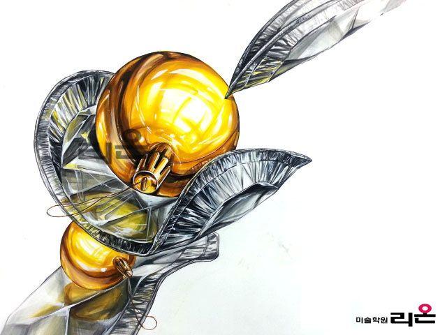 기초디자인 개체묘사(금속 구, 은박접시) By llion