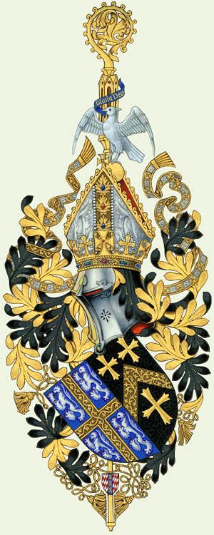 John Fordham, Prince Bishop of Durham (1382 -1388).... www.internationalheraldry.com .... His personal arms are impaled with those of his bishopric. Note that the bishop's mitre is set inside a princely crown (the prince-bishop once ruled almost half of England). ..... By Anthony Wood
