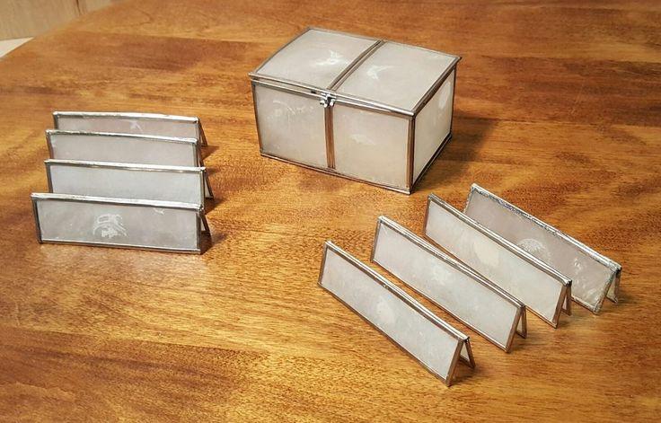 Vintage 1975 ARTHUR COURT Designs Capiz SHELL BOX with 8 PLACE CARDS ~ RARE #ArthurCourt #Shell #Box #PlaceCard