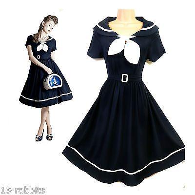 Sailor 1950's Vintage Pin-Up Rockabilly Style Nautical Tea Dress NEW 10 12 14 16