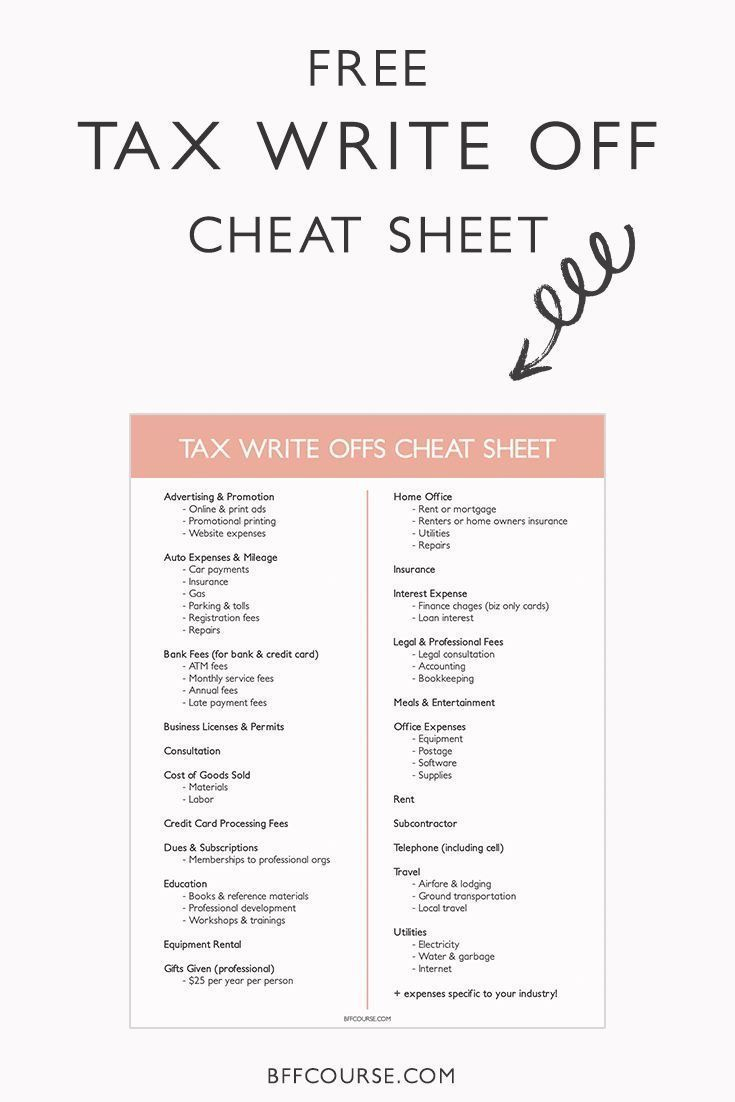 How To Write A Tax Write Off Cheat Sheet Small Business Taxes