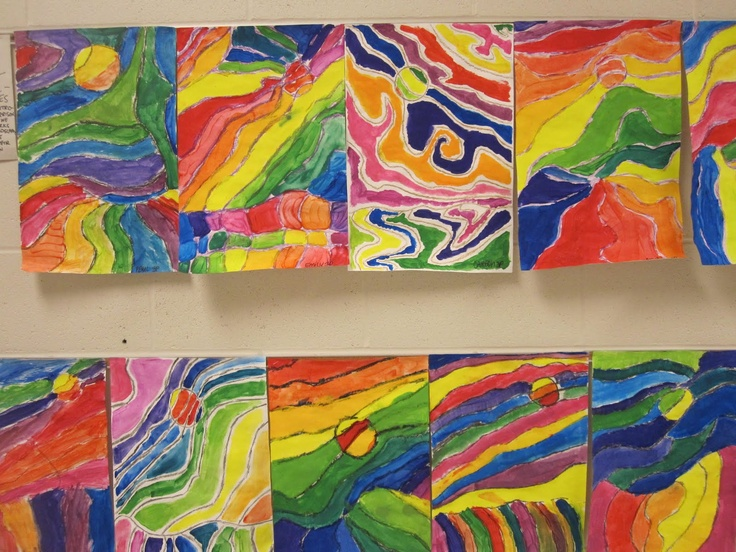 The Clever Feather: 3rd Grade color wheel landscapes