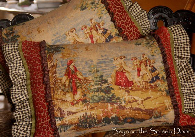 Multi Fabric Pillows (2) from Beyond the Screen Door  - love her mix of fabrics!!