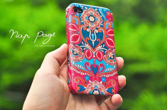 iPhone cases - Decoupage vintage Indian Floral Design