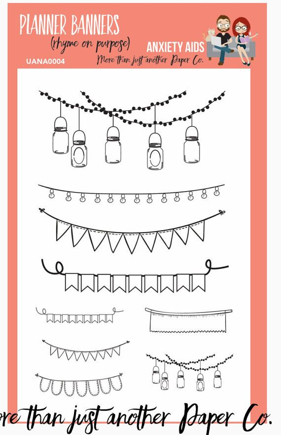 Planner Banners Planner Clear Stamp Set by AnxietyAids on Etsy