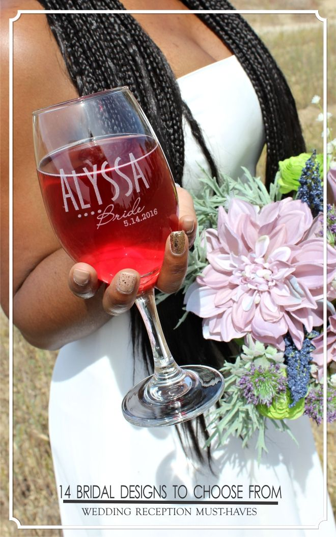 Bridal Party glassware that kicks-up the wedding reception a notch. Engraved with your text and starting at just $10 ea. #weddings