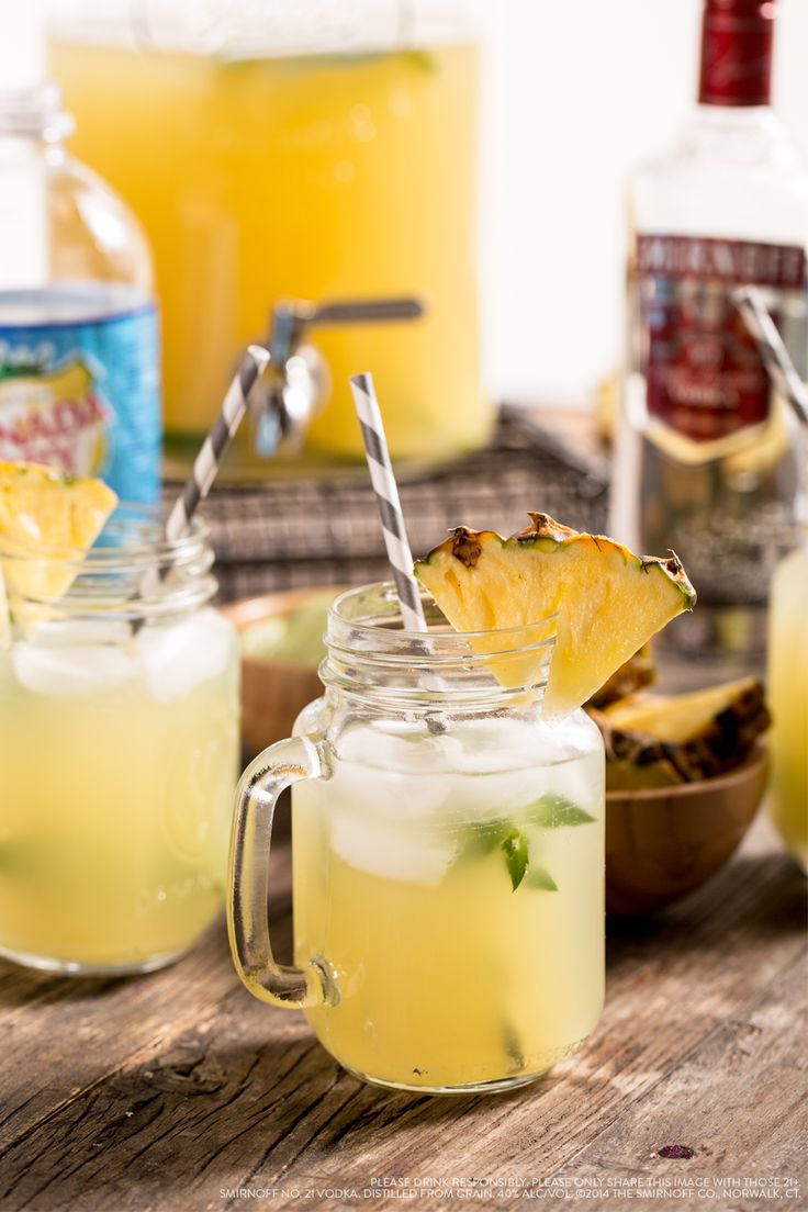 Try this pineapple limeade vodka punch combine 1 5 cups for Fun drinks to make with vodka