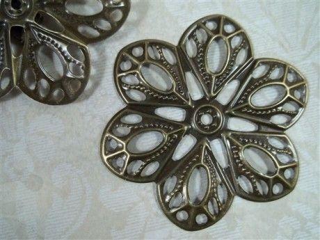 Bronze Flower Metal Filigree Embellishments (#022-B) - ButterBeeScraps.comButterBeeScraps