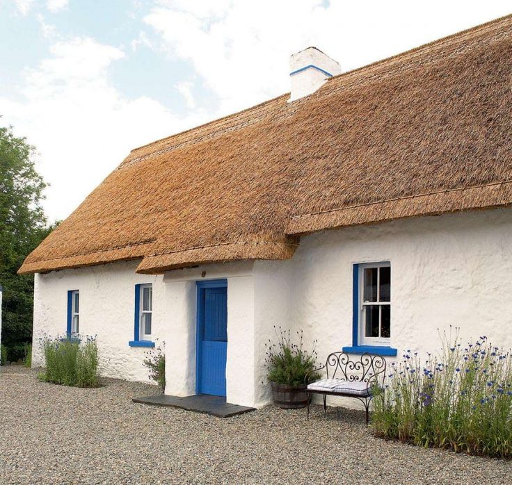 County Louth, Ireland Early 1700s thatched stone cottage