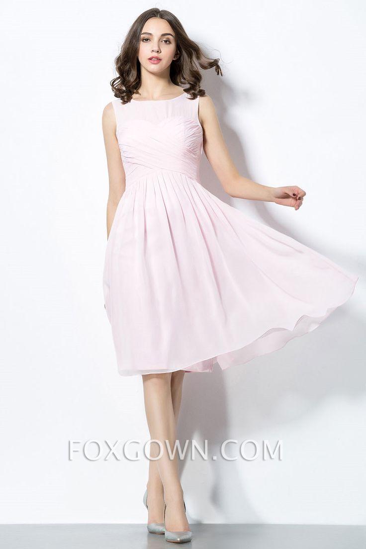 fashion sheer neck short pink bridesmaid dress