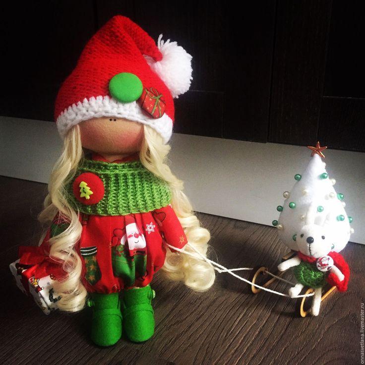 Купить Новогодняя кукла Санта - ярко-красный, зеленый, Новый Год, новый год 2017, санта
