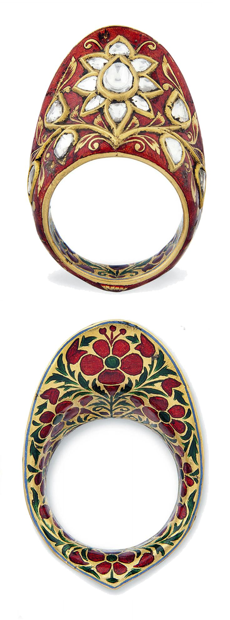 India | Archer's ring; gold, diamonds and enamel | 19th century | 2'570£ ~ sold (Apr '12)