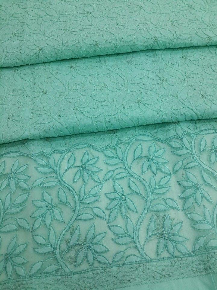 Lucknowi Chikankari online Kurta Legth Sea green cotton with very fine hand embroidery murri, shadow, applique (daraz) & jaali work with designer daaman  $46.5