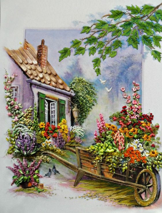 Silk Ribbon Embroidery, English garden.                                                                                                                                                      More