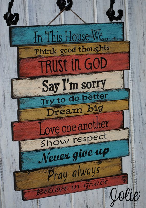 In This House wooden sign hand painted distressed. $110.00, via Etsy.