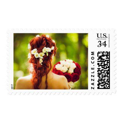 Red & White Bridal Bouquet Wedding Stamp | Zazzle.com – Lisa's Pinworld