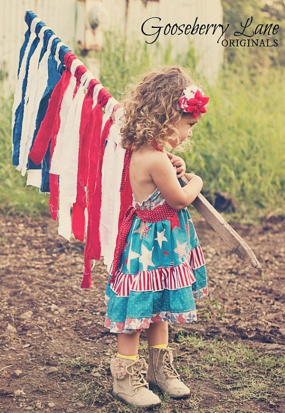 Gooseberry Lane Originals July 4th Betsy Patriotic Dress I want to make this flag.