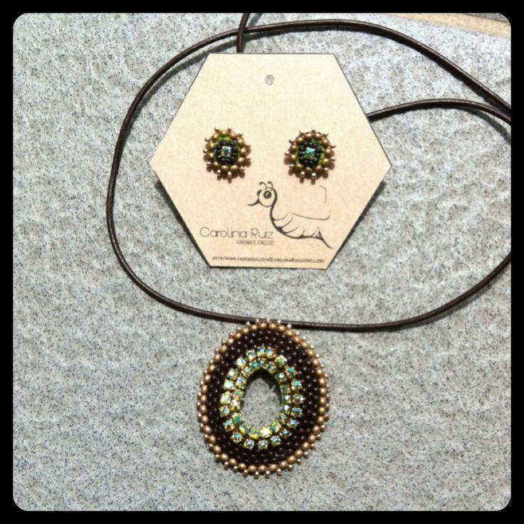 Rhinestone and beads pendant- Carolina Ruiz jewellery