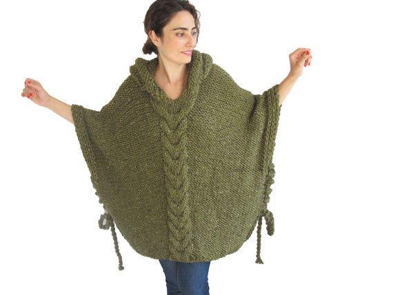 INVIERNO venta Tweed verde Plus tamaño Cable Poncho tejido por afra