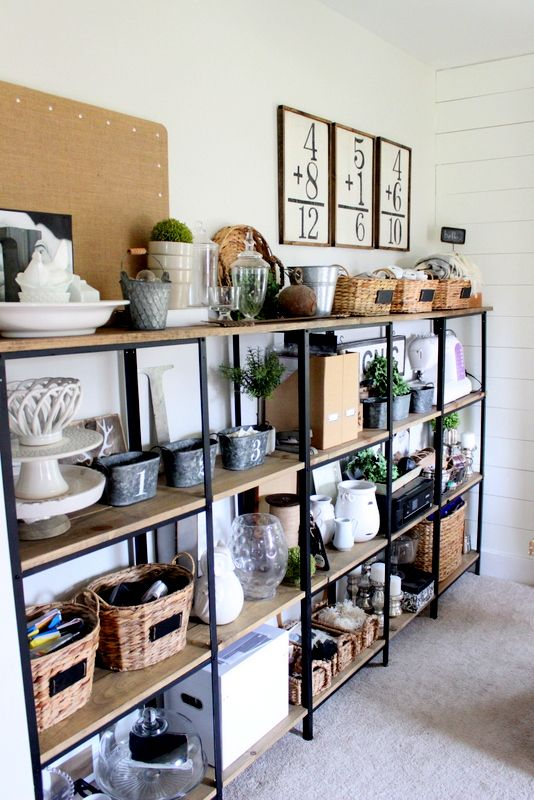 Create these DIY Industrial Shelves to store and display your home decor. Post from Proverbs 31 Girl  ||  Friday Favorites at www.andersonandgrant.com